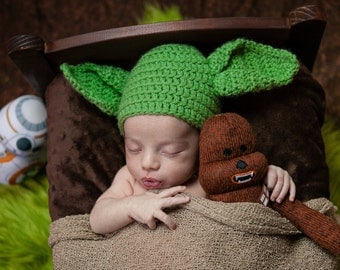 Star Wars Yoda Inspired Crochet Knitted Handmade Baby Newbon Baby Toddler Hat Beanie Character Costume Cosplay Con Halloween  Photo Prop
