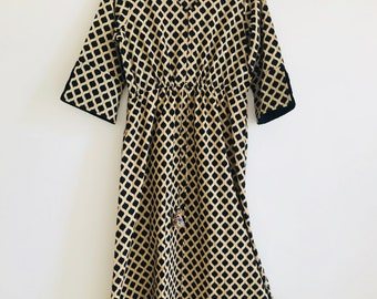 Beige And Black Pure Cotton Handcrafted,Handblocked Dress In Size Large & Extra Large With Adjustable Waist / Smart,Cool And Trendy