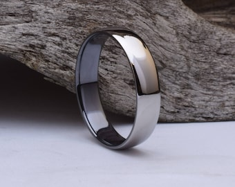 Mens ring, mens wedding ring titanium with black interior, domed titanium wedding band with black interior and mirror finsish exterior