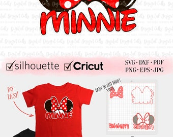 Minnie Ears SVG, Minnie with Bow Iron-on, Minnie Bow Cutting File, Disney Tshirt, DIY Distey Shirt, Disney Vacation diy T-shirt