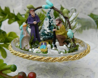 Christmas Nativity Manger Snow Globe, Religious Snow Globe Nativity Cloche, Nursing Home Patient, Hospital Gift, Miniature, Mini