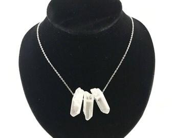 Clear Quartz Necklace. Raw Clear Quartz Handmade Necklace. Clear Quartz Necklace. Bridal Necklace.Triple Crystal Pendant
