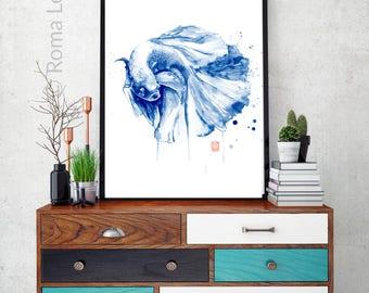 Art print Wall poster Watercolor paintig Modern blue illustration Navy beta fish illustration Bedroom wall art Contemporary artwork print