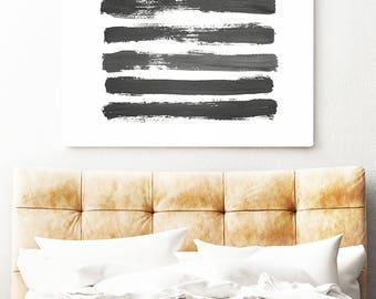 Brush Stroke Print, Brush Stroke Wall Art, Modern Minimal, Landscape, Abstract Minimal, Black and White Paint, Brush Stroke Modern Art Print