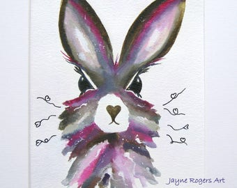 ORIGINAL PAINTING - Hare Art Work, Hare Painting, Animal Art, Nursery Art, Animal Painting, Pink Rabbit Painting, Nursery Decor