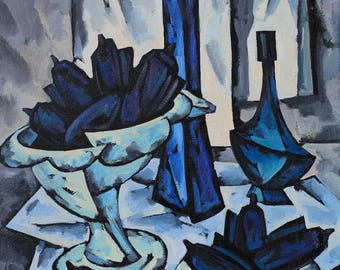 Great CUBISM still life OIL painting blue vase with fruits Ukraine ORIGINAL oil on canvas