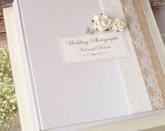 Large Personalised Wedding Photograph Album. 50 pages / 100 Sides. Burlap, Lace & Rose Wedding Photo Album with Diamante Butterfly.