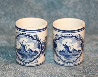 Vintage Hand Painted Blue Delft Holland Vandermint Shot Glasses/Toothpick Holder