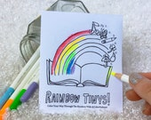 Rainbow order mini coloring book, kids coloring pages, adult coloring therapy, coloring zine, mini zine.