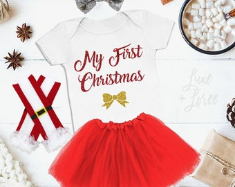 My First Christmas Baby Girls Christmas Outfit Girls Shirt Baby Girl Christmas Outfit Baby Christmas Outfit Christmas Shirt