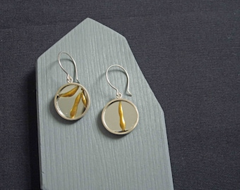Recycled silver encases broken mirror, healed in the kintsugi style. Recovery earrings in medium. Gifts for her. Healing. Mental health