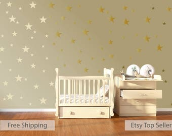 120 Gold Metallic Stars Nursery Wall Decals, Nursery Wall Stickers,  Childrens/Baby Wall