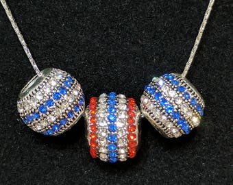 Patriotic Necklace with red, white and blue stripes- FREE SHIPPING!