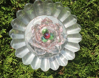 Repurposed Glass Garden Flower Decor - Yard Art