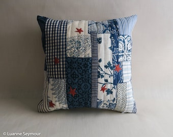 Designer throw pillow cover, linen pillow, patchwork appliqué pillow cover, repurposed linen pillow cover