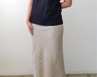 Bias Cut A Line Skirt in Flax Linen