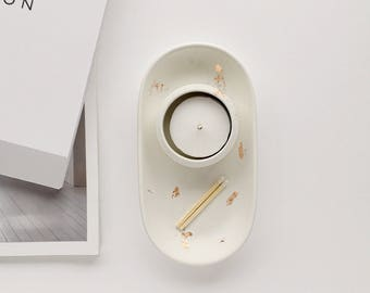White concrete and copper rectangle dish and tea-light holder, candle, concrete, birthday gift, gifts for her