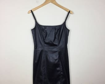 90s Pleather Mini Dress, Black Mini Dress, Leather Dress, Open Back Dress, Strappy Dress