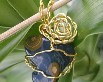 Dark Green Ocean Jasper Pendant, Gold Wire Wrapped