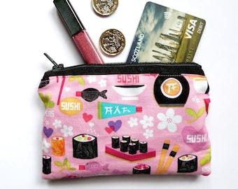Sushi Change Purse Makeup Bag Coin Purse Small Purse Kawaii Purse Kawaii Pouch Zipper Purse 100% Cotton