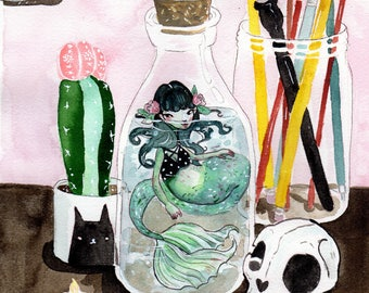My Little Mermaid in a Jar Still Life Watercolor Print.