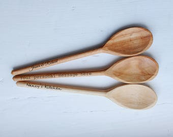 Custom Engraved spoons Personalized wooden spoon Anniversary gift Wedding gift Birthday Gift Housewarming Baking Cooking Mothers day gift