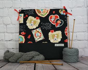 Vintage Valentine bag,  Knitting project Bag, Crochet Bag, Yarn Bag,  Project Bag, Sock knitting bag, Shawl Project bag