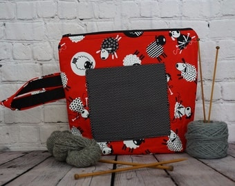Knitting Sheep Project bag ,  Large Zipper Project Bag, Knitting Sheep bag, Sheep Project Zipper bag,