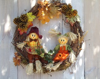 fall Wreath, harvest wreath, scarecrow wreath