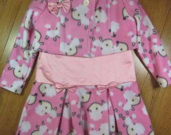 Little girl's pink fleece and satin dress with jacket, bolero, top adorned with bows for 4-5 years old
