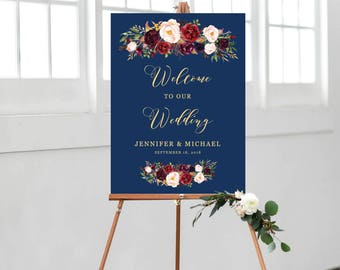 Wedding Welcome Sign Template, Wedding Welcome Sign Printable, Ceremony Sign Template, Welcome Sign Floral, Navy Blue, Gold, Personalize