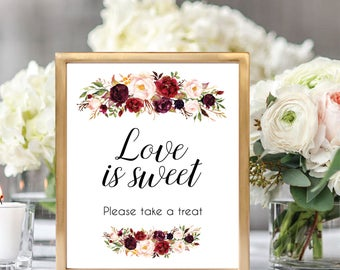 Love Is Sweet Please Take A Treat, Dessert Table Sign, Dessert Sign Printable, Please Take A Treat Sign, Printable Wedding Sign, #D021