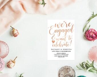Rose gold invitation, Editable invitation, Printable engagement invitations, Editable pdf, Were engaged invites, Engagement party invites
