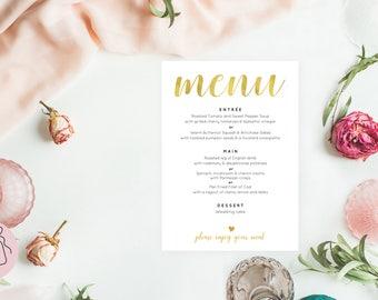 Gold wedding menu template, Wedding menu printable wedding menu printable, Rustic wedding menu, Rustic menu Wedding menu cards, #ZRR10102