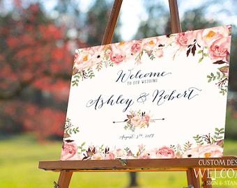 Bohemian Wedding Sign, Wedding Welcome Sign, Printable Wedding Sign, Welcome Wedding Sign, Floral Wedding Sign, wedding sign - US_WS0104