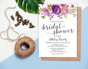 Watercolor Bridal Shower invitation, Bridal shower invitation, Rustic bridal shower invitation, Floral Bridal Shower - US_BI0807