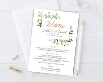 Greenery Wedding Menu, Wedding Menu, Printable Wedding Menu, Wedding Menu Cards, Wedding Menu Printable, Wedding Menu Template