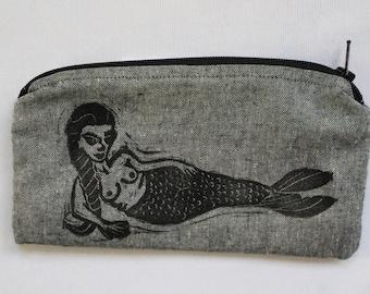 Mermaid Block Printed Zip Pouch // Grey Chambray