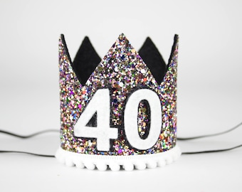 40th Birthday Crown | 40th Birthday hat | Custom Birthday Party Hat | Adult Party Crown | Any Age Crown | Adult Party Hat | Kaleidoscope