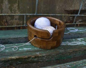 Antique Bronze Bog Oak Wood Yarn Bowl, Segmented Dark Brown Yarn Holder, Circle Knitting Organizer, Round Crochet Bowl, Wool Yarn Storage