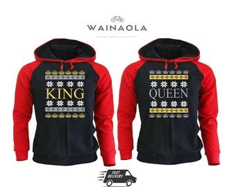 Christmas King and Queen Couple Hoodies, Christmas Gift for Couples, Matching Couple Hoodies, King Queen Hoodies, Queen and the King Hoodie