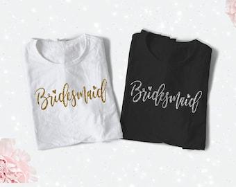 BRIDESMAID Iron On, Bride Heat Transfer, Gold Glitter Iron On, Bride Tribe Decal, Custom Bride Tshirt, bridal party iron on, Bridesmaid Gift