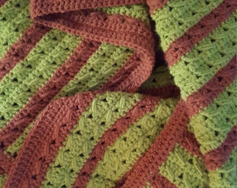 Crochet Green and Brown Blanket, Crochet Lapghan, Crochet Green and Brown Throw, Wheelchair Blanket in Granny Smith Green and Earthy Brown