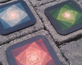 4 fractal multicolor leather coasters made in france