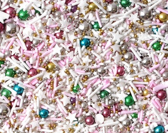 Serendipity Sprinkle Blend, Holiday Sprinkles, Pastel Rainbow Sprinkles, Rainbow Dragees, fancy sprinkles, Gold and Silver Sprinkles