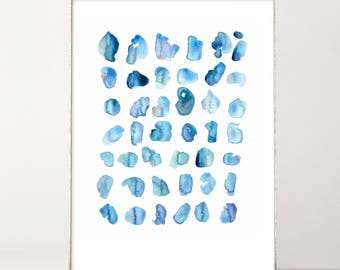 Abstract Watercolor, Blue Spots, Abstract Art Print, Modern Print, Minimalist, Wall Art, Watercolor Print, Watercolor Spots, Blue Watercolor