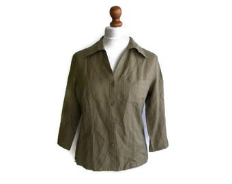 Vintage Linen Shirt, Khaki Linen shirt, Womens Linen shirt, Green Linen shirt, Summer shirt, Linen blouse, Khaki linen blouse, Size M