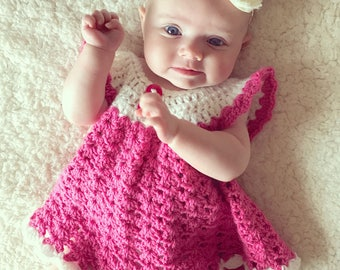 Baby dress Crochet baby angel wings pinafore 0-3 months pink