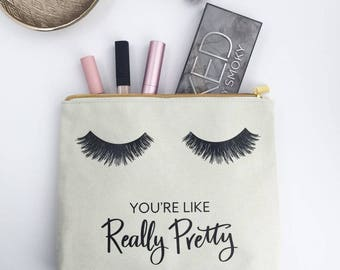Eyelashes Pretty Makeup Bag Pouch, Makeup Pouch, Pencil Pouch, Clutch, Makeup Organizer, You're really pretty, Canvas pouch, Cosmetic Bag,