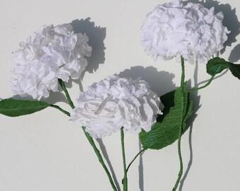 3 white hydrangeas, hydrangea bouquet, paper flowers, wedding flowers, home decor, gift for her, housewarming gift, cottage chic, hydrangea